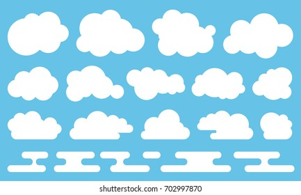 Cloud vector icon set white color on blue background. Sky flat illustration collection for web, art and app design. Different nature cloud weather symbols.