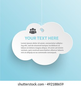 Cloud vector illustration  isolated on blue sky background with shadow. Cloud banner for advertising.