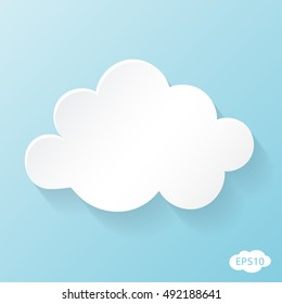 Cloud vector illustration on blue sky with shadow.