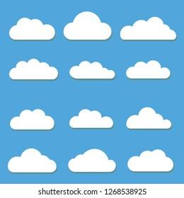 Cloud Vector Illustration Set White Color On Blue Background