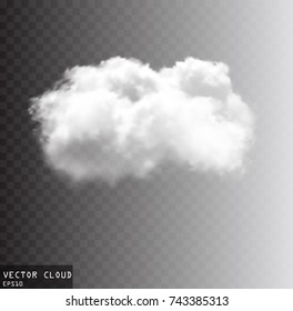 Cloud vector illustration, single vector cloud isolated over transparent background, white cloud object
