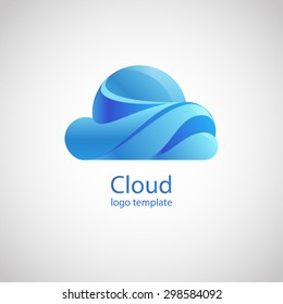 Cloud vector logo design template. Upload, download trendy style idea. Corporate modern  icon. EPS 10