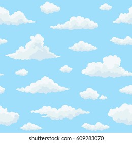 Cloud vector seamless pattern. White clouds on blue sky. Repeat print.