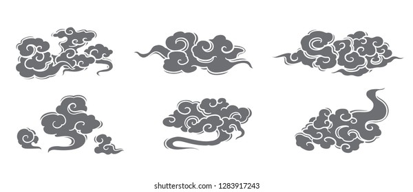 Cloud vector set. Chinese, Thai, Japanese styles.