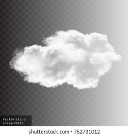 Cloud vector shape illustration, realistic white fluffy cloud isolated over transparent background