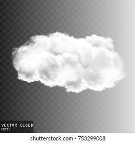 Cloud vector shape with a reflection illustration, realistic white fluffy cloud isolated over transparent background, transparent vector cloud