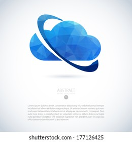 Cloud virtual storage emblem with orbit and modern triangle pattern