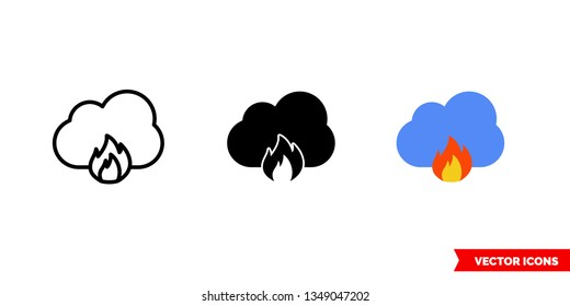 Cloud vulnerability icon of 3 types: color, black and white, outline. Isolated vector sign symbol.