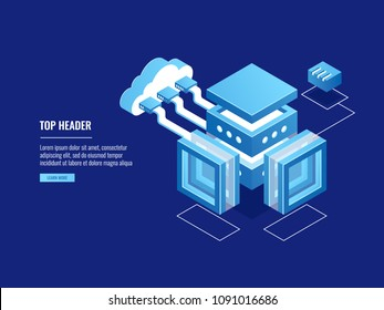 Cloud warehouse, data copy storage, server room, connection with cloud, data center database icon isometric vector