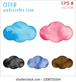 Cloud watercolor icon set. Alive hand drawn style symbol. Amazing painting. Modern design for infographics or presentation.