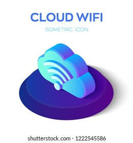Cloud Wifi Icon. 3d Isometric Cloud Icon with WiFi Sign. Created For Mobile, Web, Decor, Print Products, Application. Perfect for web design, banner and presentation. Vector illustration.