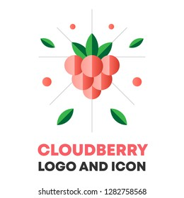 Cloudberry icon, logo, berry vector illustration. Flat cloudberry icon, logo design for food, cosmetic package. Flat cloudberry icon, logo for menu. Berry vector illustration, cloudberry icon, logo.