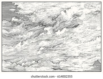 Clouded sky view. Black and white dashed style sketch, line art, drawing with pen and ink. Retro vintage picture.
