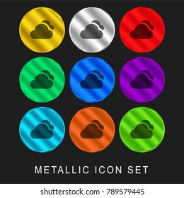 Clouds 9 color metallic chromium icon or logo set including gold and silver