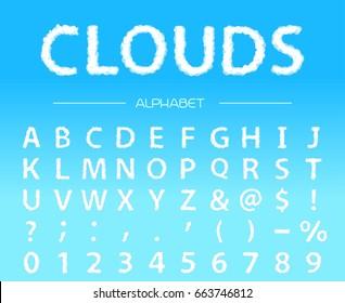 Clouds alphabet. Vector font.