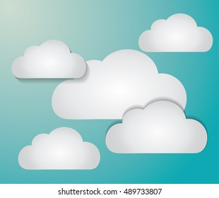 Clouds background. Weather sky nature and season theme. Blue and white design. Vector illustration