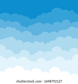 Clouds blue background. Floating clouds. Vector illustration.
