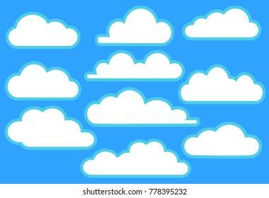 Clouds in blue sky set vector illustration