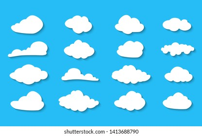 Clouds collection Vector illustration. White cloudy set isolated on blue background. White clouds of different shapes. Blue Cloud icon, cloud shape. Set of different sky.