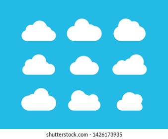 Clouds collection. White Clouds vector icons on blue background. White Cloud in flat design. Eps10