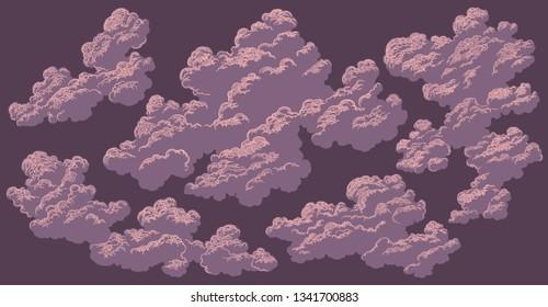 Clouds. Design set. Hand drawn engraving. Editable vector vintage illustration. Isolated on dark background. 8 EPS