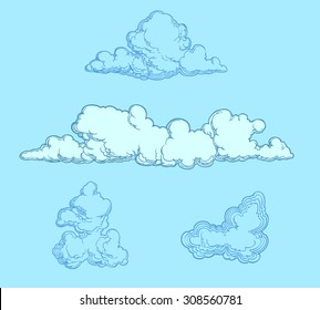 Clouds. Design set. Hand drawn engraving. Vector illustration. 8 EPS