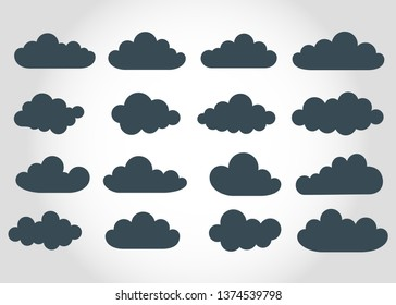 Clouds  grey background. Set. Banners. Print on paper. Vector
