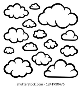 Clouds. Hand drawn clouds set illustration isolated on white. Clouds sketch drawing.
