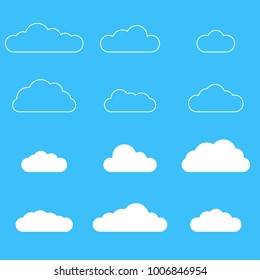 Clouds icon set. Different cloud shapes isolated on the blue sky background. Vector illustration.
