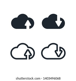 Clouds Icon Set,Upload and download online data storage icons.