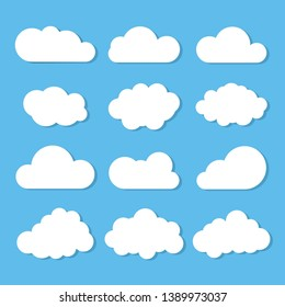 Clouds icon, vector illustration on blue background.