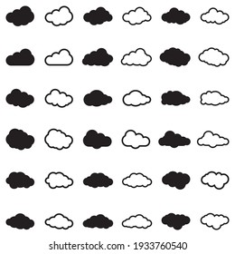 Clouds Icons. Black Flat Design. Vector Illustration.