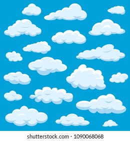 Clouds isolated on blue sky cloudy bright vector cloudscape. Nature air weather fluffy white cloud illustration. Beautiful overcast climate symbol. Cartoon cloud set.