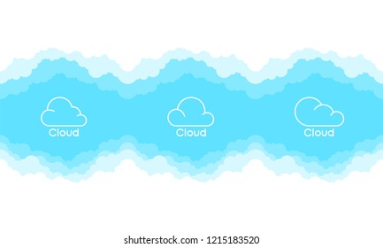 Clouds logo set isolated on a blue background. Thin line logo or icon. Border of clouds. Simple modern cartoon design. Flat style vector illustration.