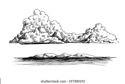 clouds, mountains and ocean doodle illustration