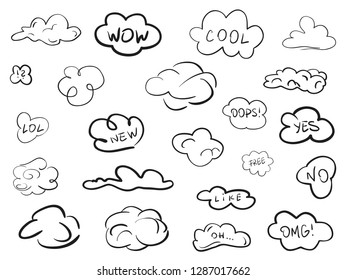 Clouds on isolation background. Sketchy doodles on white. Hand drawn infographic elements. Black and white illustration. Sketches for artworks