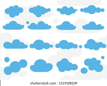 Clouds on the sky illustration. Set of icons. Isolated elements.