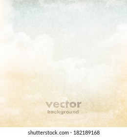 clouds on a textured vintage paper vector background, with grunge stains