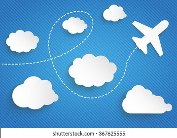 Clouds with paper jet on the blue striped background. Eps 10 vector file.