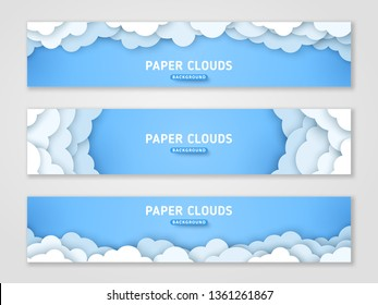 Clouds papercut banner templates set. 3d cloudscape background. Volumetric horizontal skyline origami paper art with text space
