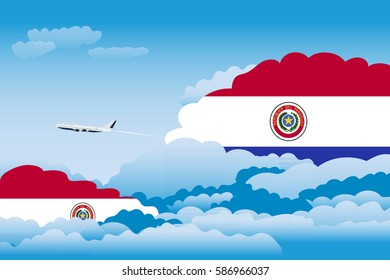 Clouds with Paraguay Flags, Aeroplane Flying