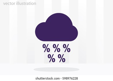 clouds and precipitation percent icon vector illustration eps10. Isolated badge discount flat design for website or app, stock graphics