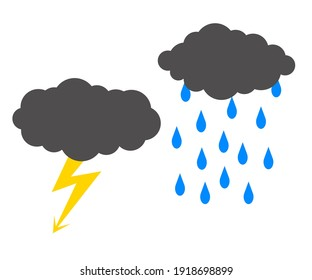 Clouds and rain on a white background. Storm. Symbol. Vector illustration.