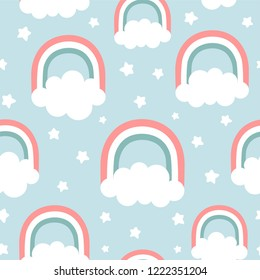 Clouds Rainbows and Stars Cute Seamless Pattern, Cartoon Vector Illustration, Nursery Background for Kid