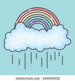 clouds rainy sky with rainbow weather