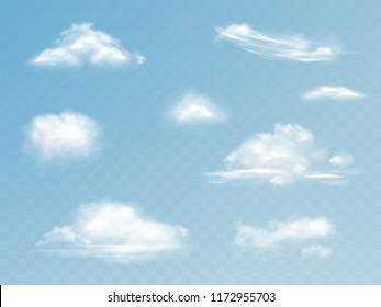 Clouds realistic set vector illustration of translucent cloudy sky with fluffy clouds isolated on transparent background for weather or nature cloudscape design elements