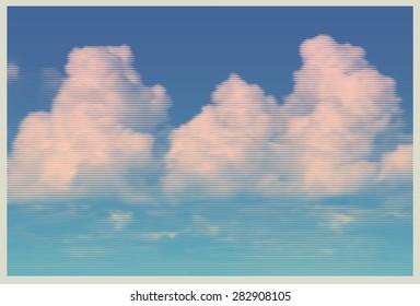 clouds, retro engraving style. design element. vector illustration