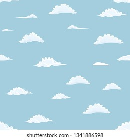 Clouds seamless on blue sky background. Flat color style vector illustration.