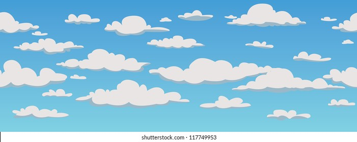 Clouds, seamless pattern background, vector illustration