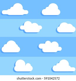 Clouds seamless pattern blue sky background